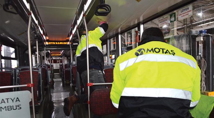 Otobüsler dezenfekte edildi